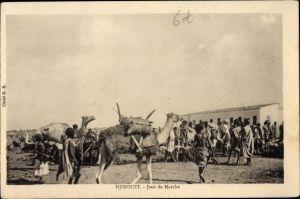Ak Djibouti Dschibuti, Jour de Marché, Markttag, Kamele