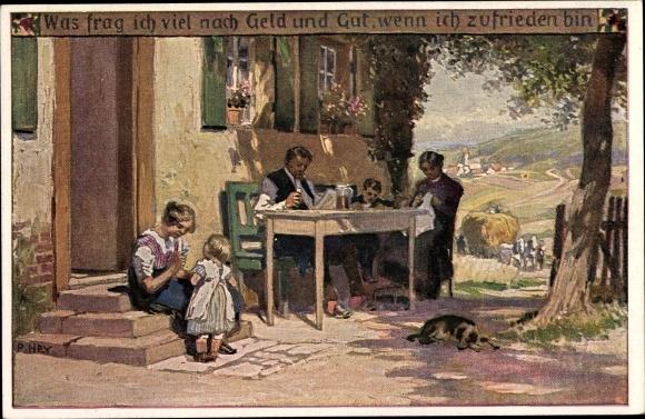 Künstler Ak Hey, Paul, Volksliedkarte Nr 51, Geld und Gut, Novitas 20771