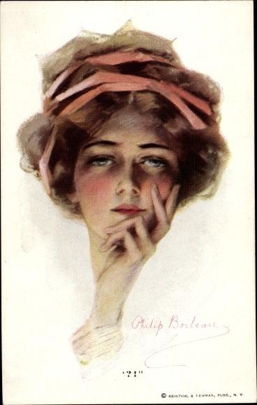 Künstler Ak Boileau, Philip, Damenportrait, Haarbänder