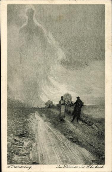 Künstler Ak Fahrenkrog, Ludwig, Im Schatten des Schicksals