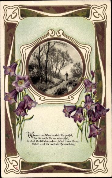 Präge Passepartout Ak Wenn zum Wanderstab du greifst, Wanderer, Glockenblumen