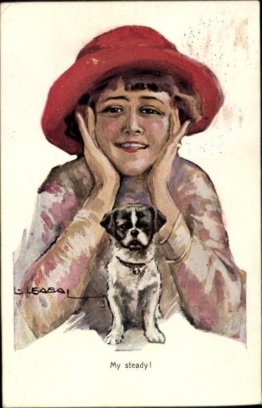 Künstler Ak Usabal, Luis, My steady, Frau mit rotem Hut, Hündchen