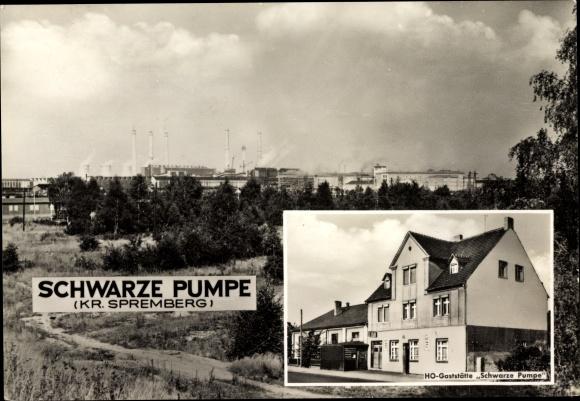 Ak Schwarze Pumpe Spremberg in der Lausitz, HO Gaststätte, Fabrikgelände