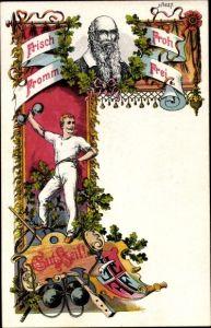 Litho Gut Heil, Turnvater Jahn, Turner, Turnen, Hantel, Turnerkreuz, Bürger & Ottilie 627