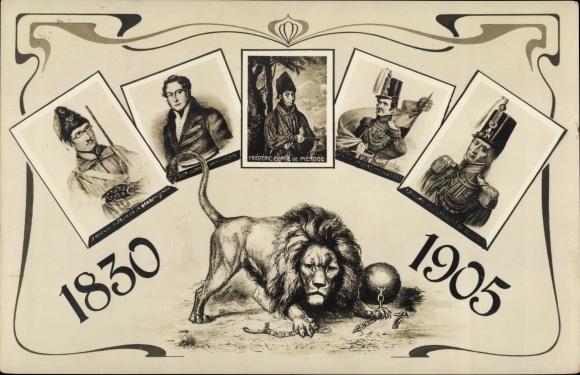 Ak Belgische Revolution 1830, Juan Van Halen, Frédéric de Merode, Löwe