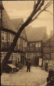 Ak Hamburg Mitte Altstadt, Blick in den Hof am Herrengraben, Fachwerkhäuser