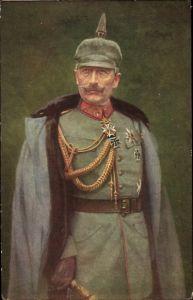 Künstler Ak Kaiser Wilhelm II. von Preußen, Portrait in Uniform, Pickelhaube, Eisernes Kreuz