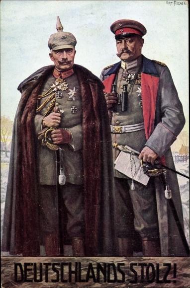 Künstler Ak Fischer, Art., Generalfeldmarschall Paul von Hindenburg, Kaiser Wilhelm II. von Preußen
