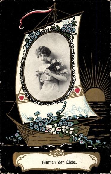 Passepartout Ak Blumen der Liebe, Frauenportrait auf dem Segel von einem Segelboot