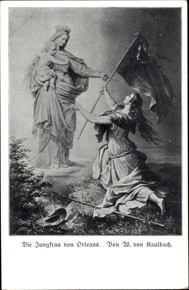 Künstler Ak Kaulbach, W., Die Jungfrau von Orleans, Fahne