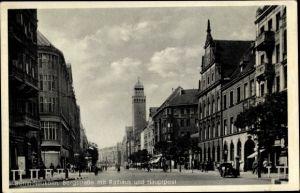 Ak Berlin Neukölln Rixdorf, Bergstraße m. Rathaus u. Hauptpost