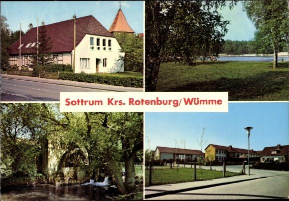Ak Sottrum in Niedersachsen, Teilansichten vom Ort, Mühlrad, Blick auf Badesee, Häuser