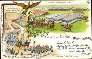 Litho Berlin Tempelhof, Parade a. d. Tempelhofer Felde, Fahnen Kompagnie a. d. Belle Alliance Platz