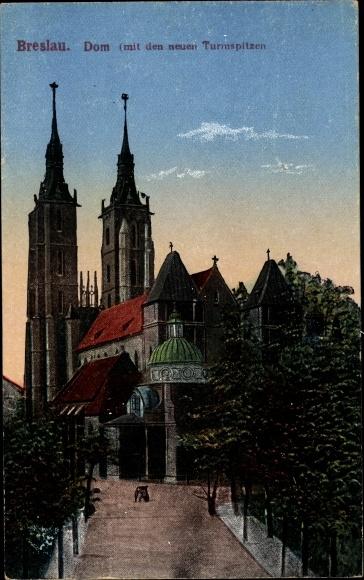 Ak Wrocław Breslau Schlesien, Straßenpartie mit Blick auf den Dom mit den neuen Turmspitzen