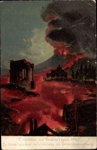 Litho Napoli Neapel Campania, L'Eruzione del Vesuvio Aprile 1906, Vulkanausbruch, Lava