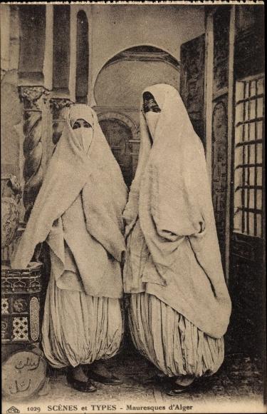Ak Scenes et Types, Mauresques d'Alger, zwei verschleierte Araberinnen, Maghreb