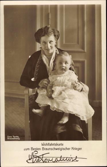 Ak Prinzessin Victoria Luise von Preußen, Portrait mit Sohn