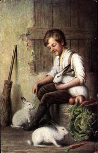 Künstler Ak Junge mit drei weißen Kaninchen mit roten Augen, Salat, Möhren