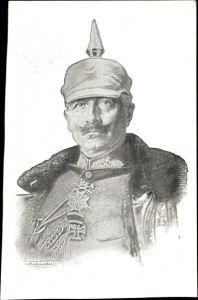 Künstler Ak Kaiser Wilhelm II. von Preußen, Portrait in Uniform, Pickelhaube, Orden
