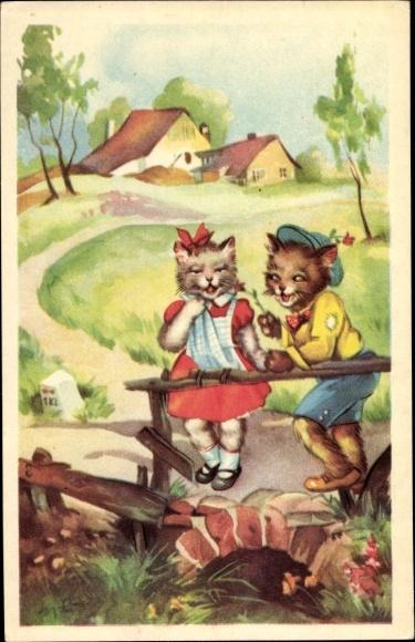 Künstler Ak Katzenjunge und Katzenmädchen auf einer Brücke