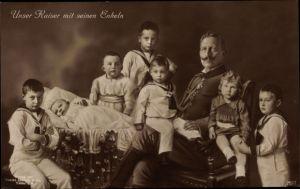 Ak Kaiser Wilhelm II., Portrait mit seinen Enkeln, Liersch 7577