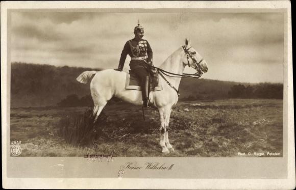 Ak Kaiser Wilhelm II. von Preußen, Portrait auf einem Pferd, NPG 4513
