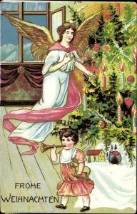Präge Ak Frohe Weihnachten, Engel, Tannenbaum, Kind mit Geschenken