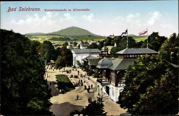 Ak Szczawno Zdrój Bad Salzbrunn Schlesien, Kurpromenade, Elisenhalle, Passanten, Bäume