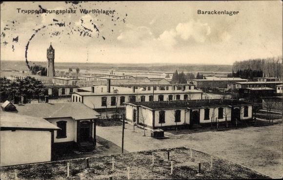 Ak Poznań Posen, Truppenübungsplatz Warthelager, Barackenlager