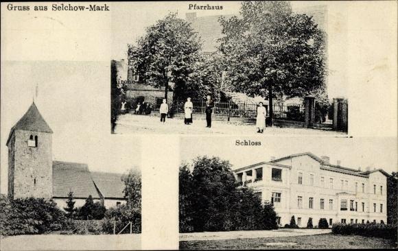 Ak Selchow Storkow in der Mark, Kirche, Pfarrhaus, Schloss