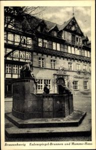 Ak Braunschweig in Niedersachsen, Till Eulenspiegel Brunnen und Mumme Haus