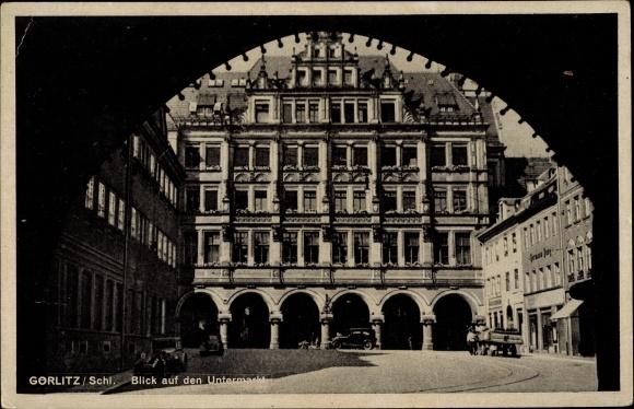 Ak Görlitz in der Lausitz, Blick auf den Untermarkt