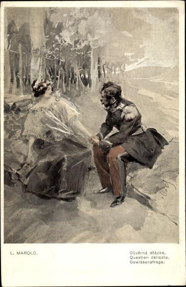 Künstler Ak Marold, L., Gewissensfrage, Liebespaar, Soldat hält die Hand einer Frau