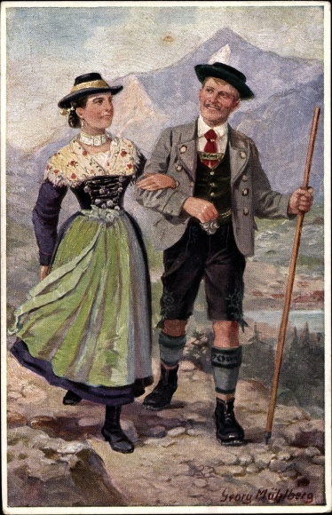 Künstler Ak Mühlberg, Georg, Paar in bayerischen Volkstrachten aus Schliersee