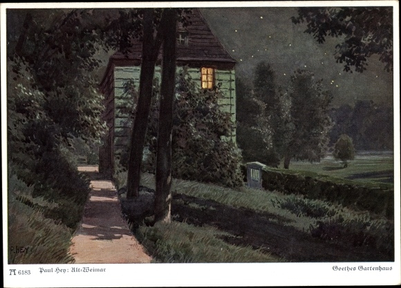 Künstler Ak Hey, Paul, Goethes Gartenhaus, Altweimar, Nachtbeleuchtung, Ackermann 6183