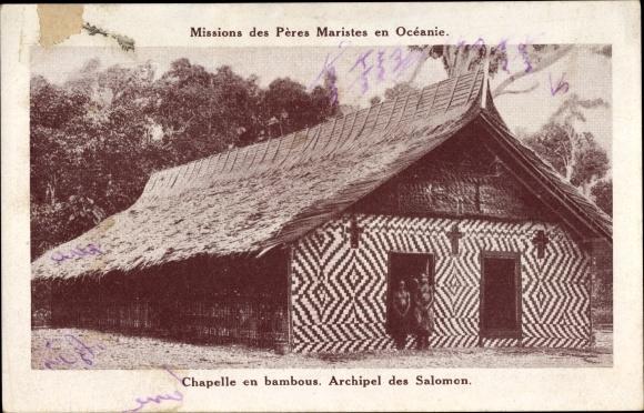 Ak Péres Maristes auf Ozeanien, Chapelle en bambous