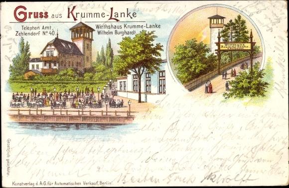 Litho Berlin Wilmersdorf Grunewald, Krumme Lanke von W. Burghardt