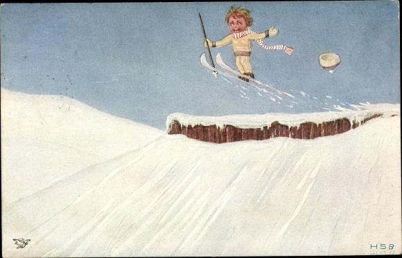 Künstler Ak Schulz, Herbert, Skifahrer, Skisprung, Primus 995