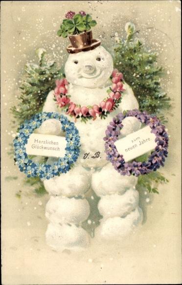 Präge Ak Glückwunsch Neujahr, Schneemann, Kleeblätter