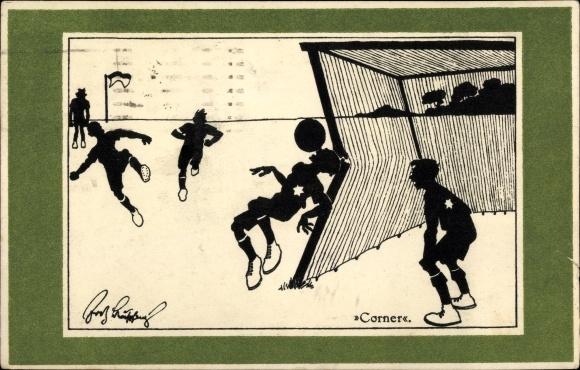 Künstler Ak Schönpflug, Fritz, Corner, Fußballspieler bei Eckschuss, BKWI 260-5