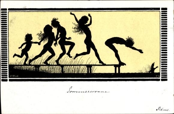 Scherenschnitt Künstler Ak Fidus, Sommerwonne, Badende springen von Steg