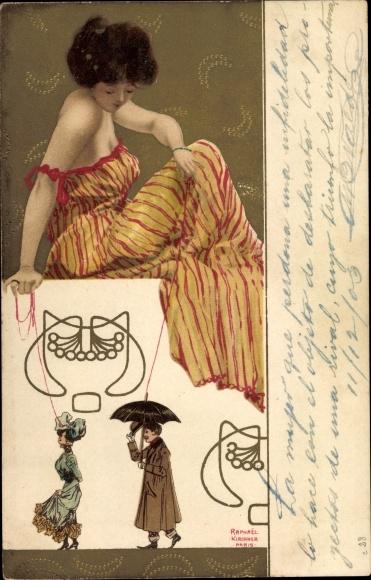Jugendstil Litho Kirchner, Raphael, Dame im gestreiften Kleid, Marionetten, Mann mit Schirm