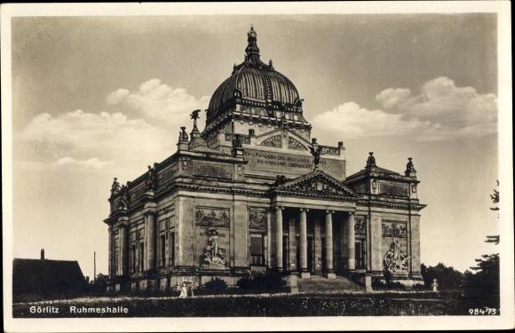 Ak Görlitz in der Lausitz, Ruhmeshalle, Säulen, Statuen