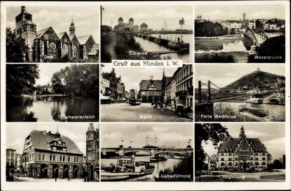 Ak Minden In Westfalen Dom Schleuse Weserbrücke Schwanenteich