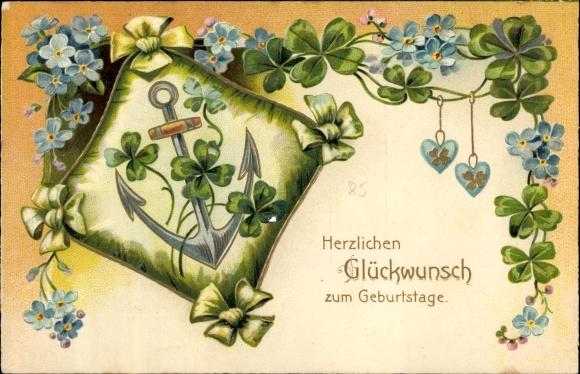 Präge Ak Glückwunsch Geburtstag, Kleeblätter, Vergissmeinnicht, Anker