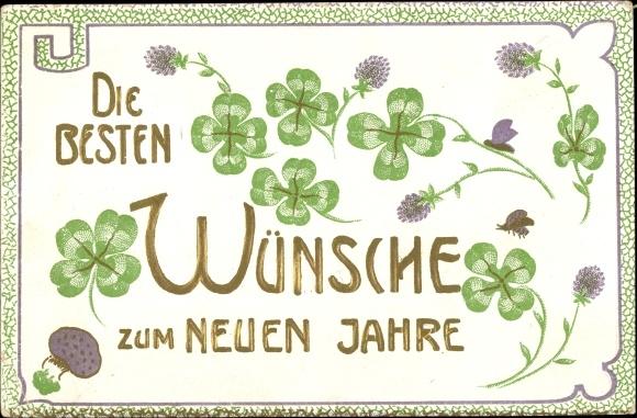 Präge Ak Glückwunsch Neujahr, Kleeblätter, Käfer, Fliegenpilz