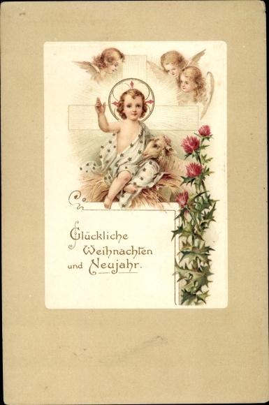 Ak Frohe Weihnachten, Glückwunsch Neujahr, Jesuskind, Engel, Disteln