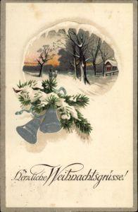Präge Ak Frohe Weihnachten, Glocken, Tannenzweig, Winterlandschaft