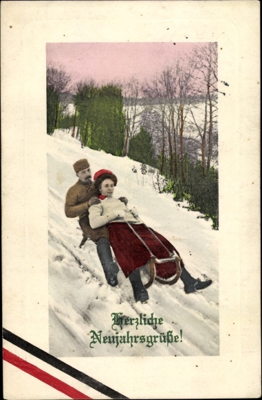 Ak Glückwunsch Neujahr, Paar auf einem Schlitten