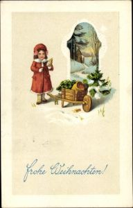 Präge Ak Frohe Weihnachten, Mädchen mit Schubkarre, Kleeblätter, Geldsack